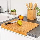 TIENDA EURASIA Tablas de Cortar de Cocina - Tablas de Bambú para Preparar, Cortar y Trocear (Tabla Encimera 45x35 cm)