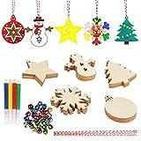 30 Piezas Adornos navideños de madera Set Adornos navideños de madera con 30 piezas de campanas de colores y 30 piezas de cuerda para manualidades de bricolaje Decoración colgante de árbol de Navidad