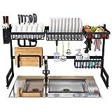 BRIAN & DANY Escurreplatos sobre fregadero, organizador de almacenamiento de acero inoxidable multifuncional con soporte para utensilios de cocina, 85 x 32 x 52 cm