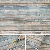 Arthome Papel de madera envejecido azul 43,5x305 cm autoadhesivo extraíble pegatinas de despegar y muebles vinilo decorativo película de tablones de madera revestimiento de paredes vintage para
