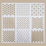 Lote de 9 plantillas geométricas reutilizables para pintar sobre paredes, lienzo, madera, muebles, suelos, azulejos, madera, plantillas de madera, plantillas de madera, decoración de bricolaje