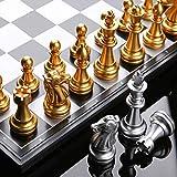qianbanger Juegos de ajedrez para Adultos Piezas ponderadas, Tablero de ajedrez 32 Ajedrez de Plata Dorada, Piezas de ajedrez de Tablero magnético, Adecuado para Juego de ajedrez, 36X36Cm