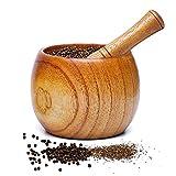 XGzhsa Mortero de ajos, Mortero y mortero de Madera, mortero de Madera Natural y tazón de mortero para moler Especias, ajo, nueces, Hierbas, Pesto (8.7 x 8.9 cm)