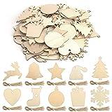 KATELUO 100 Adornos Navidad Madera, Colgantes de Madera para Navidad, Adornos Navideños de Madera, Ornamentos de Navidad, Adornos Colgante de Madera para Árbol para Navidad Bricolaje Fiesta