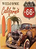 MR Cuadro de Madera Vintage Welcome to California Route 66, 24 X 18 cm