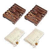 PAMIYO 2 unidades Jabonera de madera para ducha 2 unidades de bolsas de jabón caja de jabón de bambú natural saco de jabón ecológico con cordón evita restos de jabón en su lavabo estante para lavabo