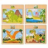 SIPLIV Rompecabezas de Rompecabezas de Madera Juguetes de educación temprana para niños de 2 a 6 años, 4 Piezas por Juego, Dinosaurio