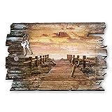 Kreative Feder Colgador de llaves con diseño de puente al mar, estilo rústico, de madera, 30 x 20 cm
