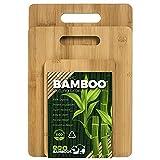 Pack - Tablas De Cortar Cocina- Juego de 3 Piezas en Madera de Bambú Para Picar - Tabla cortar de cocina de madera - Tabla de cortar antibacteriana de madera