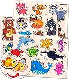 Juguetes Niños 1 2 3 Años - Montessori Juegos Bebe Puzzles de Madera - Regalo Animales Educativos para Niñas y Niños 4 5