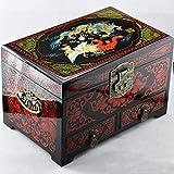 YDJGY Caja Joyero Caja Almacenamiento Chino Madera Caja Pingyao Empuje Laca luz joyería joyero Almacenamiento de Regalo Maquillaje Chino Laca Caja Gabinete