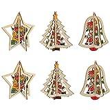Etern 6 Piezas 3D Adornos de Madera de Navidad, Adornos Colgantes de Árboles de Navidad, Árboles de Navidad Artesanía de Navidad, para árboles de Navidad, Paredes, Ventanas, Fiestas de Navidad