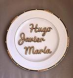 Nombres marcasitios de madera (1 unidad). Personalizados. Ideal bodas, comuniones, bautizos, cumpleaños, celebraciones. Producto 100% español.