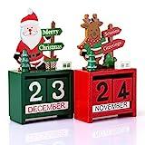 Kesote Calendario Perpetuo de Escritorio de Madera en Estilo Navideño Adorno Decorativo de Hogar y Oficina, Conjunto de 2 Calendarios, Santa Claus y Renos, Verde y Rojo