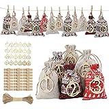 FORMIZON 24 Calendario de Adviento, Bolsa de Regalo Navidad, Bolsas de Yute con 24 Etiqueta Digital de Madera, Bolsas de Regalo Navidad, Arbol de Navidad Decoracion