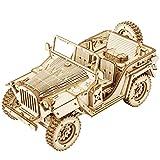 Robotime Jeep Army Cars Juguetes 3D Puzzle Model Kits Autoensamblaje Edificio de Madera Construcción mecánica Artesanía para niños, Adolescentes y Adultos