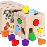 Juguete de Madera Montessori Rompecabezas de Madera de Cubo de Actividades Habilidades motoras para bebés Juego de clasificación de Forma y tamaño Juguete de Aprendizaje Educativo de para niños
