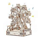 Cuteefun Maquetas de Noria con Musica para Construir Adultos, Maquetas Mecanico de Madera para Montar, Puzzle 3D Madera Construcciones, Regalo para Niños Niñas Hombres y Mujeres