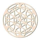 GLOBLELAND 31CM Estrella de Seis Puntas Arte de Pared de Madera Rejilla de Cristal Arte de Pared Cortado con Láser Escultura de Pared de Madera para Colgar En la Pared Decoración Arte Decoración