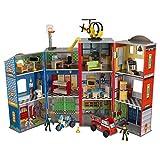 KidKraft- Juguetes de madera Everyday Heroes, para niños, con camión de bomberos, moto de policía, helicóptero y figuras de acción incluidos , Color Multicolor (63239) , color/modelo surtido