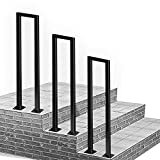 RTY-SC Barandilla de transición de Metal Negro para Pasos de concreto de Cemento y Pasos de Madera  Pasos al Aire Libre Stair Barandal  Piquete de la barandilla para Pasos Exteriores  Hierro Forjado