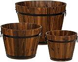 YTFR Juego de 3 jardineras de Barril Cubo de Madera, Jardineras de Flores rústicas, Cajas de macetas, Macizos de Flores Decorativos para Decoración Interior del hogar, Plantas pequeñas