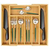 Organizador de cubiertos de bambú, organizador de cajones de cocina expandible para cubiertos, soporte de utensilios de madera, almacenamiento de cajones multifunción, 5-7 compartimentos