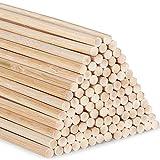 AUSYDE Varillas de bambú para manualidades, 30 cm, 100 unidades de 4 mm, madera redonda para manualidades, bastón de bambú de alta calidad