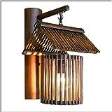 Lámpara de pared de bambú hecha a mano Lámpara de pared de madera maciza de mimbre vintage creativa de hierba antigua para restaurante, cafetería, sala de estar y balcón de estudio Lámpara de pared