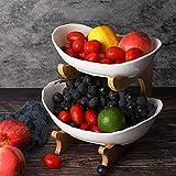 LIBWYS Juego de cuencos ovalados de 2 niveles con rejilla de bambú natural, juego de bandejas de cerámica escalonadas para servir frutas, aperitivos de postre, pasteles, dulces, etc. Blanco