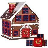BAKAJI Calendario de Adviento de Navidad de madera con 24 cajones numerados para sorpresa, adornos navideños para casa (casita de Navidad)
