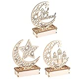 3PCS Ramadan Eid Mubarak Adornos Madera Luna Forma de Estrella Luz Musulmana Ramadan Mesa Luz Artesanía Decoración de Escritorio para la decoración del hogar musulmán