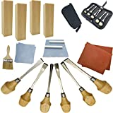 Fycooler Conjunto de herramientas de talla de madera Kit de herramientas de talla de madera de 20 piezas con cinceles tallados, bloques de tilo para Escultura casera de bricolaje Artesanía en madera