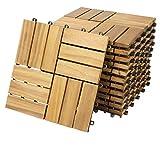Deuba Set de 11 baldosas 'Mosaïco' de madera Acacia 30x30cm por 1m² Losas de terraza para jardín balcón spa o deck