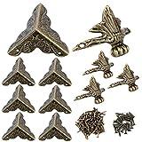 16 Protectores Esquinas Metal 4 Patas Metalicas Decorativas Cajas de Madera Muebles con Tornillos Clavos Color Bronce