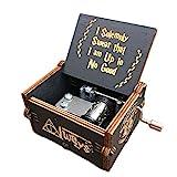 Jeerbly - Cajas de música con manivela de madera de 18 notas, caja de música clásica con grabado hecho a mano clásico, regalos para niños, amigos, cumpleaños / Navidad / Día de San Valentín