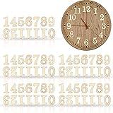 75 Piezas de Números de Madera en 5 Juegos, Números de Reloj Árabe de Madera con Adhesivo para Decoración de Bricolaje de Reloj