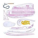 LOREMYI - Regla de costura portátil de plástico, 13 piezas para coser francesa, accesorios de regla de costura transparente, juego de reglas de costura para diseñadores