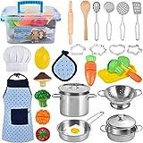 TwobeFit Juguetes de Cocina para niños, 29 Piezas Juguetes de Chef para Niños, Cocina de Acero , Vegetales para Cortar, Delantal y Gorro De Cocinero, Cortadores de Galletas, Rodillo para niños