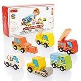 Milly & Ted - Juego de Coche de Juguete de Madera - Juego de 6 carritos para niños de 2 años y Mayores