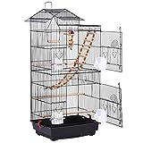 Yaheetech Jaula para Pájaros 46 x 35,5 x 99 cm con Juguetes Asa Portátil 4 Comederos 3 Perchas Jaula de Aves Canarios Jaula para Mascota