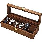 LOSKORIN Caja para 6 relojes, caja de madera con ventana de cristal, regalo para señor Dame