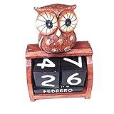 HC enterprise Bloque de Calendario perpetuo de Madera diseño de búho