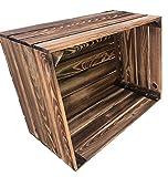 Ecobox Vintage Deko B 1 - Caja de fruta flameada, caja de vino de madera, ideal como zapatero, perfecta para la construcción de muebles, dimensiones 50 x 40 x 30 cm