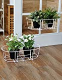 XIAOLIN- Barandal ovalado Montado en la pared de flores Shelf Balcón de hierro colgante Flower Pot Rack 1 Set 2 piezas --Marco de acabado de flores