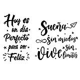 2pcs Pegatinas Pared Vinilos Frases Letras Motivadoras Español Stickers Adhesivos Negro Decoración Habitación Dormitorio Salón Ventana