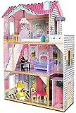 leomark Casa de Muñecas de Madera con Ascensor - Bella Departamento - Equipo Completo, 3 Pisos, con Muebles y Accesorios (14 Elementos),, Color Rosa + LED + Juego de Control Remoto
