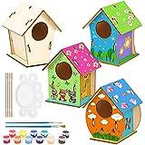 O-Kinee 4 Kit Casitas de Pajaros, Bricolaje de Madera para Pájaros, Mini Pajarera de Madera, Juego de Colgar para Pájaros de Madera Kit de Materiales, Juego de Manualidades para niños y niñas