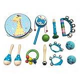 PAMRAY Instrumentos Musicales Infantiles Madera Percusion Juguetes Mini Maracas Castanuelas Traqueteo Preescolar Música Toys (Azul)