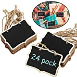 24 Paquetes Etiquetas de Pizarra Carteles de Pizarra de Madera Colgante Mini Etiquetas de Pizarra de Madera de 3,35 x 2,36 Pulgadas Etiquetas de Pizarra Rectangular Signos de Tablero de Masaje